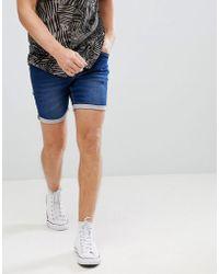 Blend Slim Fit Denim Shorts Mid Wash - Blue