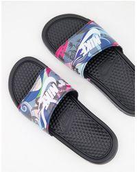 Nike Черные Шлепанцы -черный Цвет - Белый