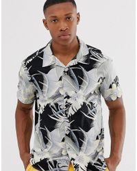 Esprit Rever Collar Shirt With Tropical Print - Black