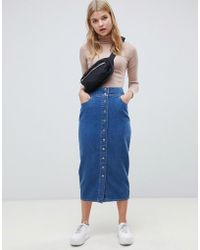 ASOS Denim Midi Skirt With Poppers In Midwash Blue