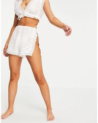 ASOS Tie Side Scallop Broderie Beach Short Co-ord - White