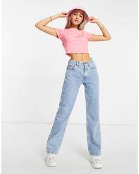 ASOS Mid Rise '90's' Straight Leg Jeans - Blue