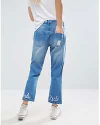 Daisy Street | Cropped Distressed Jeans With Girls Rock Embroidery | Lyst