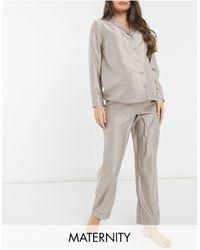 New Look Серо-бежевая Пижама На Пуговицах -коричневый Цвет - Многоцветный