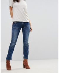 G-Star RAW 5620 3d Hadron Mid Rise Cropped Kick Flare Jeans - Blue