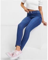 Urban Bliss Jean skinny taille haute à délavage foncé - Bleu