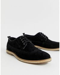 ASOS Brogue Shoes In Black Suede With Jute Sole