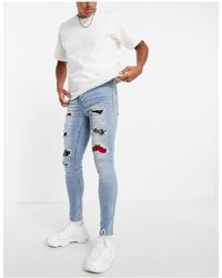 Sixth June Distressed Jeans With Tartan Detailing - Blue