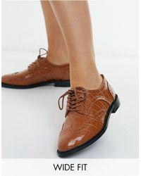 ASOS Светло-коричневые Туфли Для Широкой Стопы На Шнуровке - Коричневый