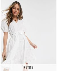 Vero Moda Tiered Smock Dress With Removeable Belted Waist - White