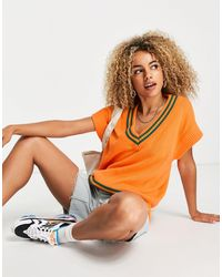 Native Youth Pull sans manches oversize en maille style universitaire - Orange