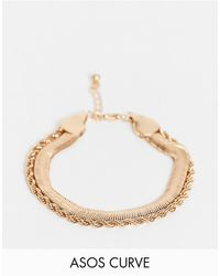 ASOS Asos Design Curve Multirow Bracelet With Vintage Style Flat Snake Chain - Metallic
