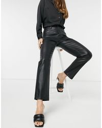 River Island Faux Leather Straight Leg Trouser - Black