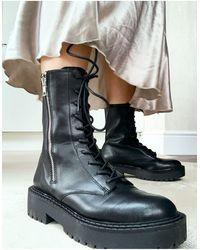 Bershka Zip Detail Lace Front Chunky Biker Boot - Black