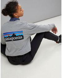Patagonia - P-6 Back Logo Long Sleeve Top In Grey - Lyst