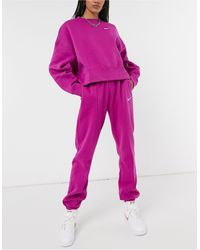 Nike - Joggers violetas extragrandes con logo pequeño - Lyst