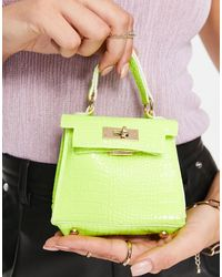 Truffle Collection Micro Mini Croc Grab Bag With Chain - Green