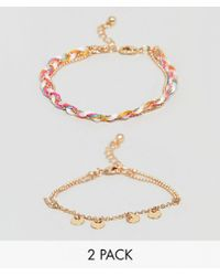 ASOS - Design Pack Of 2 Disc Chain And Woven Friendship Bracelets - Lyst