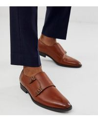 ASOS Wide Fit Monk Shoes In Faux Tan Leather - Brown