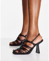 Mango Heeled Lace Detail Square Toe Shoe - Black