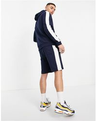 ASOS Organic Tracksuit With Hoodie And Shorts With Side Stripe - Blue
