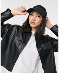 Mango Faux Leather Shirt - Black