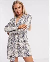 UNIQUE21 Асимметричное Платье-пиджак Со Змеиным Принтом -темно-синий