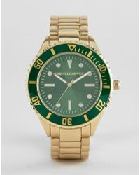 ASOS - Design Bracelet Watch In Brushed Gold With Contrast Green Dial And Bezel - Lyst