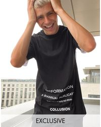 Collusion Spliced T-shirt With Text Print - White