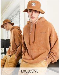 Collusion Sudadera marrón extragrande con capucha y lavado ácido