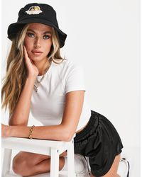 Fiorucci Canvas Bucket Hat With Angel Embroidered Logo - Black