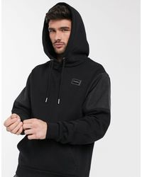 River Island Maison Riviera Hoodie With Nylon Panels - Black
