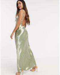 ASOS - Атласное Платье Макси Косого Кроя С Глубоким Вырезом На Спине - Lyst