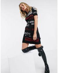 Love Moschino Vestito maglia con stampa del logo nero