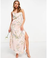 AX Paris Розовое Платье Макси На Бретелях С Цветочным Принтом Для Подружки Невесты Bridesmaid-многоцветный