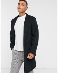 ASOS Wool Mix Overcoat With Inverted Lapel - Black