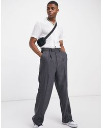 ASOS High Waist Wool Mix Smart Trousers With Wide Leg - Grey