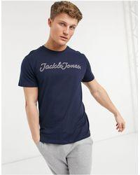 Jack & Jones Темно-синяя Футболка С Логотипом На Груди -темно-синий