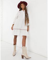 Vero Moda Embroidered Smock Midi Dress - White