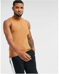 ASOS Camiseta sin mangas con parte delantera - Marrón