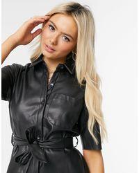 Miss Selfridge Robe chemise en similicuir - Noir