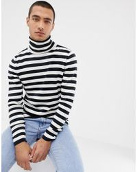 SELECTED - Roll Neck Stripe Long Sleeve Top - Lyst