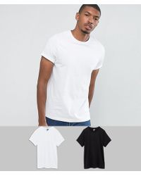 ASOS - T-shirt With Roll Sleeve 2 Pack Save - Lyst