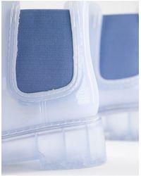 ASOS Жемчужно-голубые Резиновые Ботинки Челси На Массивной Подошве - Синий