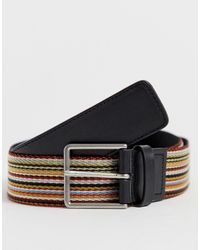 Paul Smith Classic Stripe Web Belt In Multi - Multicolour