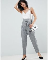 ASOS - Tailored Tapered Check Pant With Obi Self Tie And Exposed Zip - Lyst