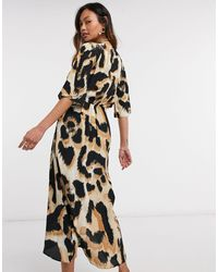 River Island Vestito midi con stampa leopardata e nodo frontale, colore marrone