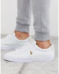Polo Ralph Lauren Sayer - Canvas Sneaker Met Gekleurde Polospeler - Wit