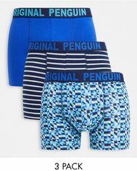 Original Penguin Набор Из Трех Боксеров-брифов Синего И Бирюзового Цвета Со Сплошным Принтом -многоцветный - Синий