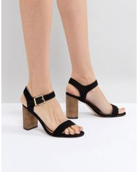 Dune - Two Part Block Heel Leather Sandal In Black - Lyst
